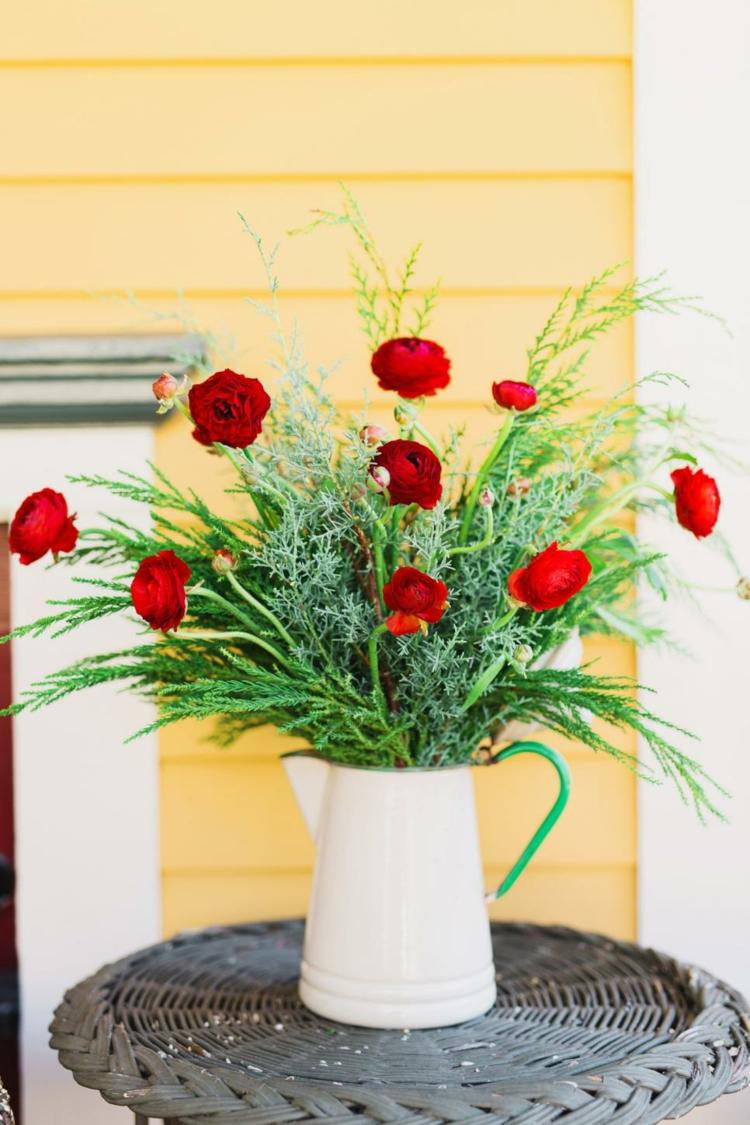 arreglos florales diseño mesa exterior blanco