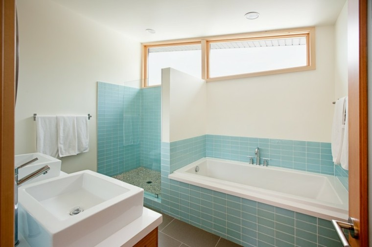 azulejos modernos baño color celeste