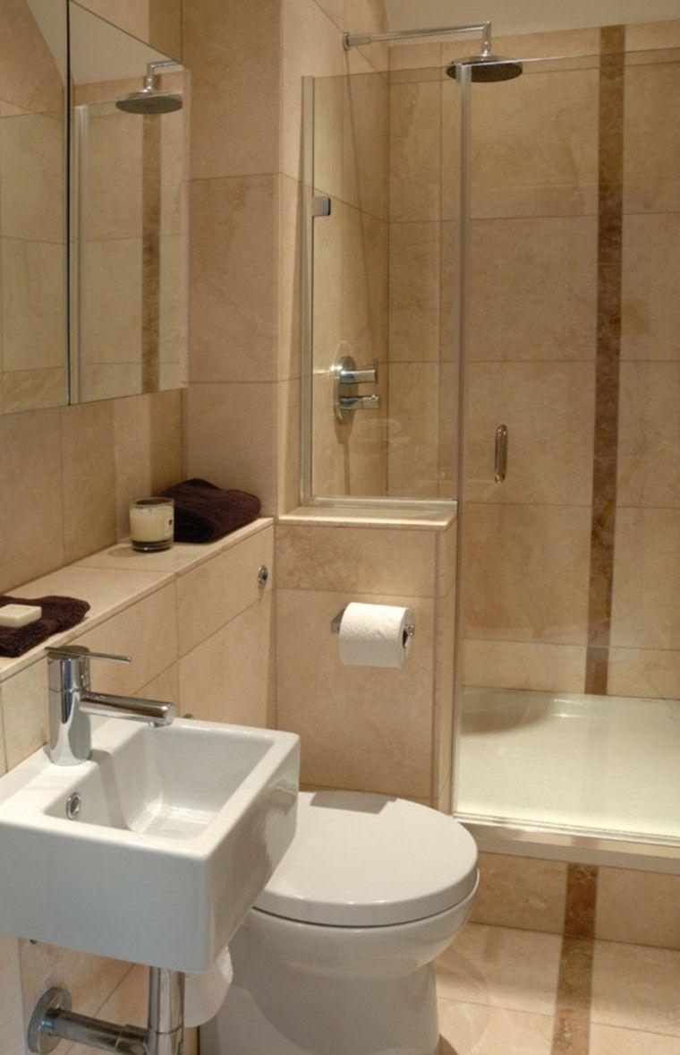 Ba os peque os con ducha 38 dise os de moda for Revestimiento de banos pequenos