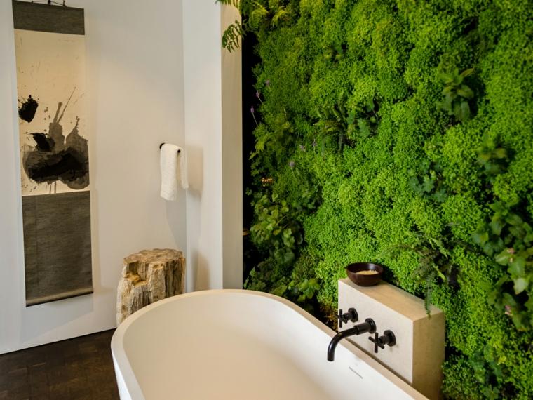 bañera baño moderna jardin vertical