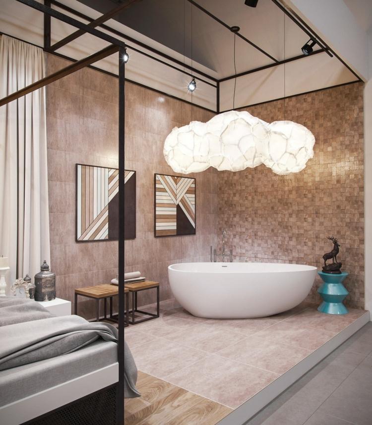 bañeras exentas cortinas rocas escalones metales