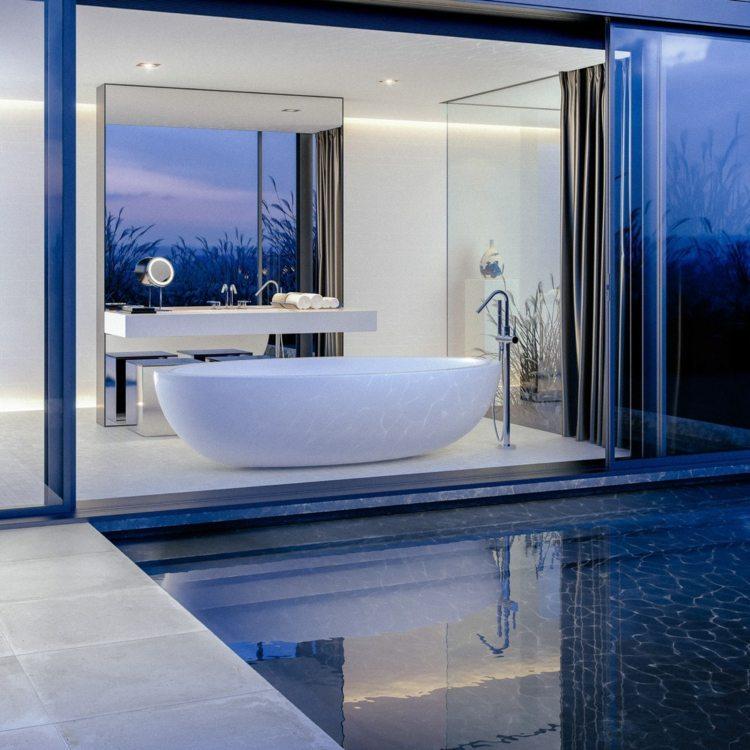 bañeras exentas piscina fondo azules