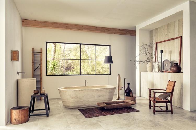 bañeras exentas rustico naturales sillas