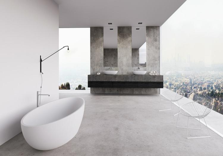 bañeras exentas sillas blancas vista