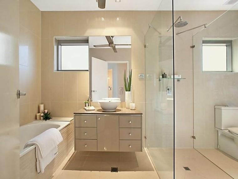 baño bañera cabina ducha espejo