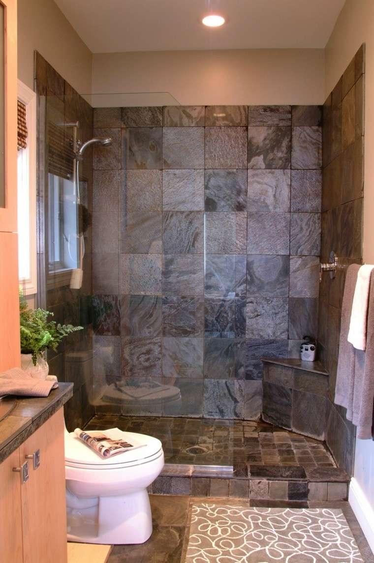 cuarto baño ducha azulejos grises