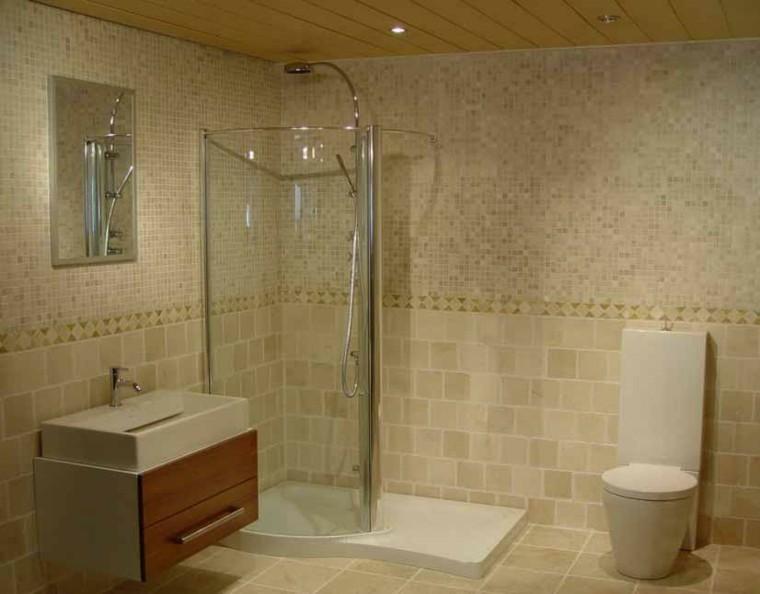 baño pequeño ducha color beige