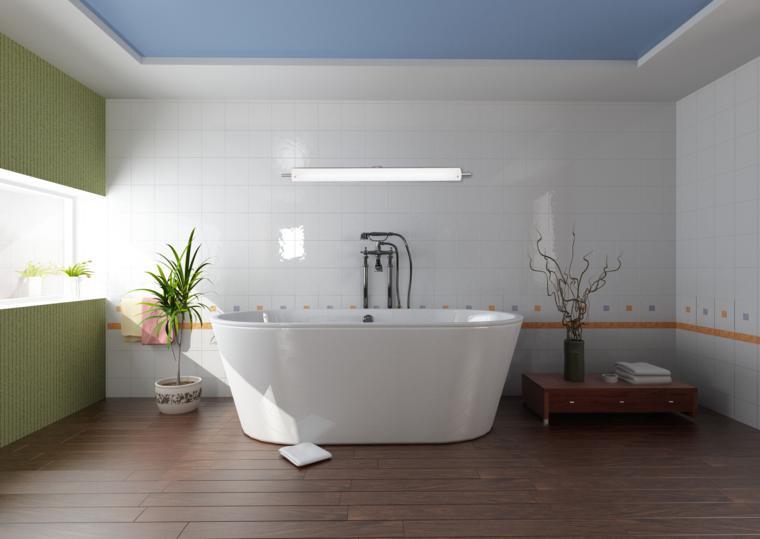 baño estilo minimalista deco plantas