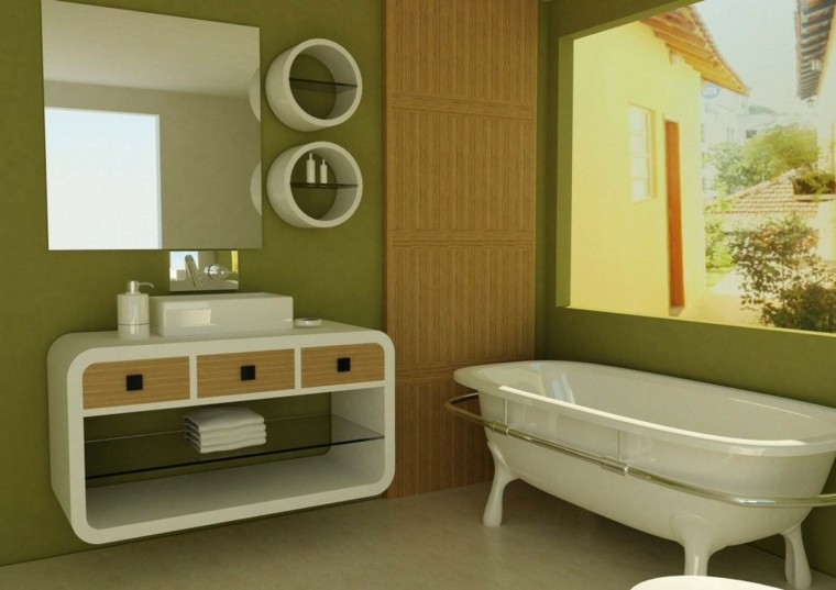 cuarto baño pequeño verde