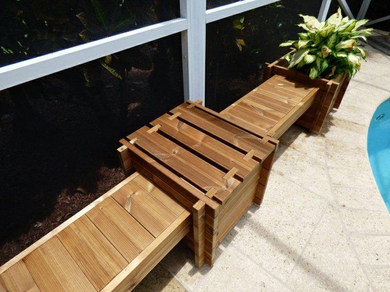 banco madera jardineras laterales deco