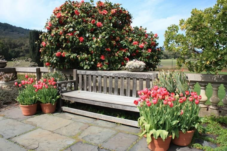 banco estilo retro flores tulipanes