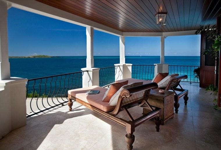 bench terrace design sea views