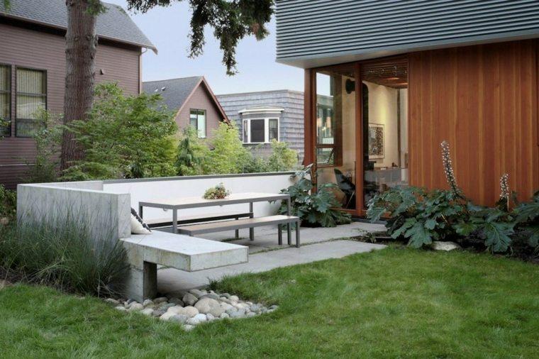 bancos obra jardin cemento deco