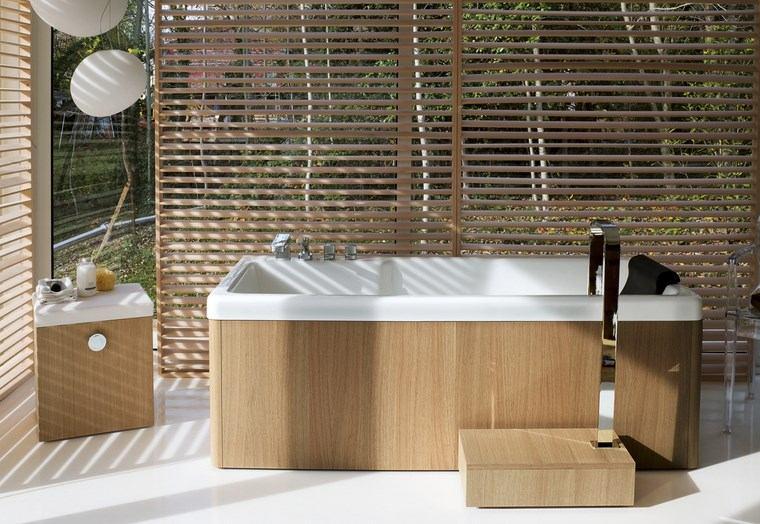 baño diseños banera madera original ideas