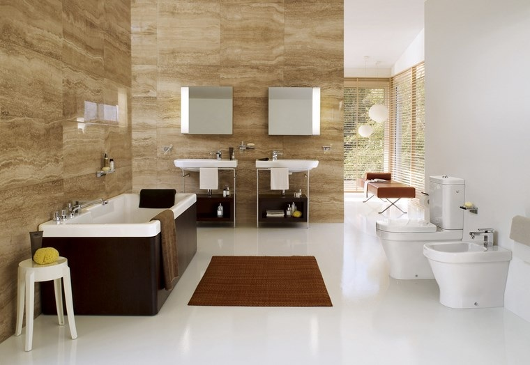 baño diseños banera negra alfombra ideas