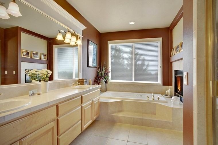 baño diseños chimenea banera amplio ideas