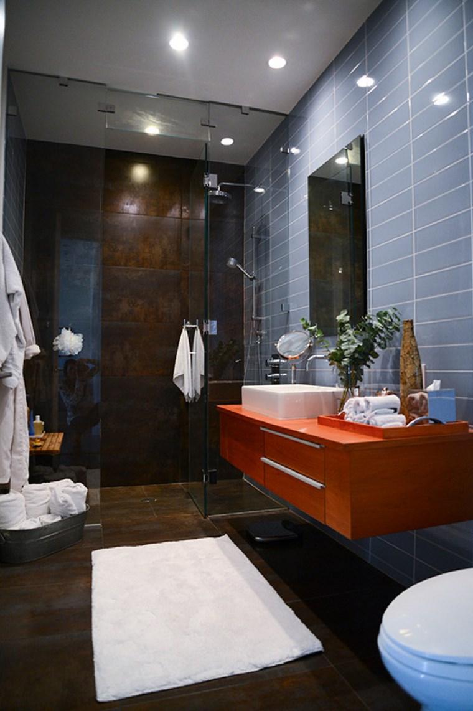 baño diseño combinacion azul marron ideas