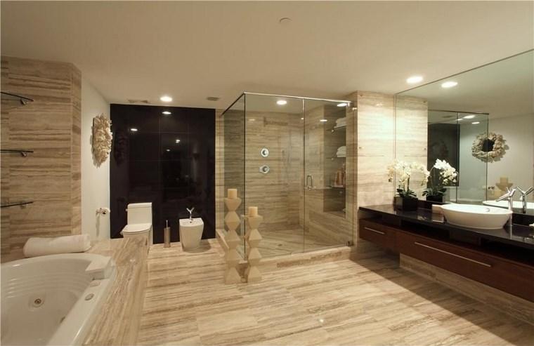 baño diseño contemporaneo losas preciosas ducha banera ideas