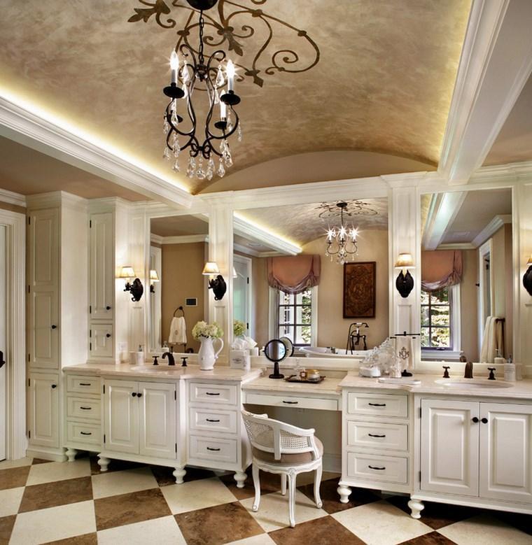 baño diseño dos lavabos madera blanca ideas