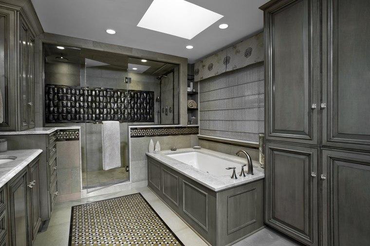 Diseno De Baños Hermosos:armario de madera gris en el baño moderno de diseño