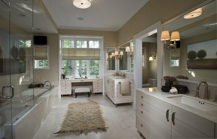 baños bonitos lavabos diseno dos lavabos alfombra ideas