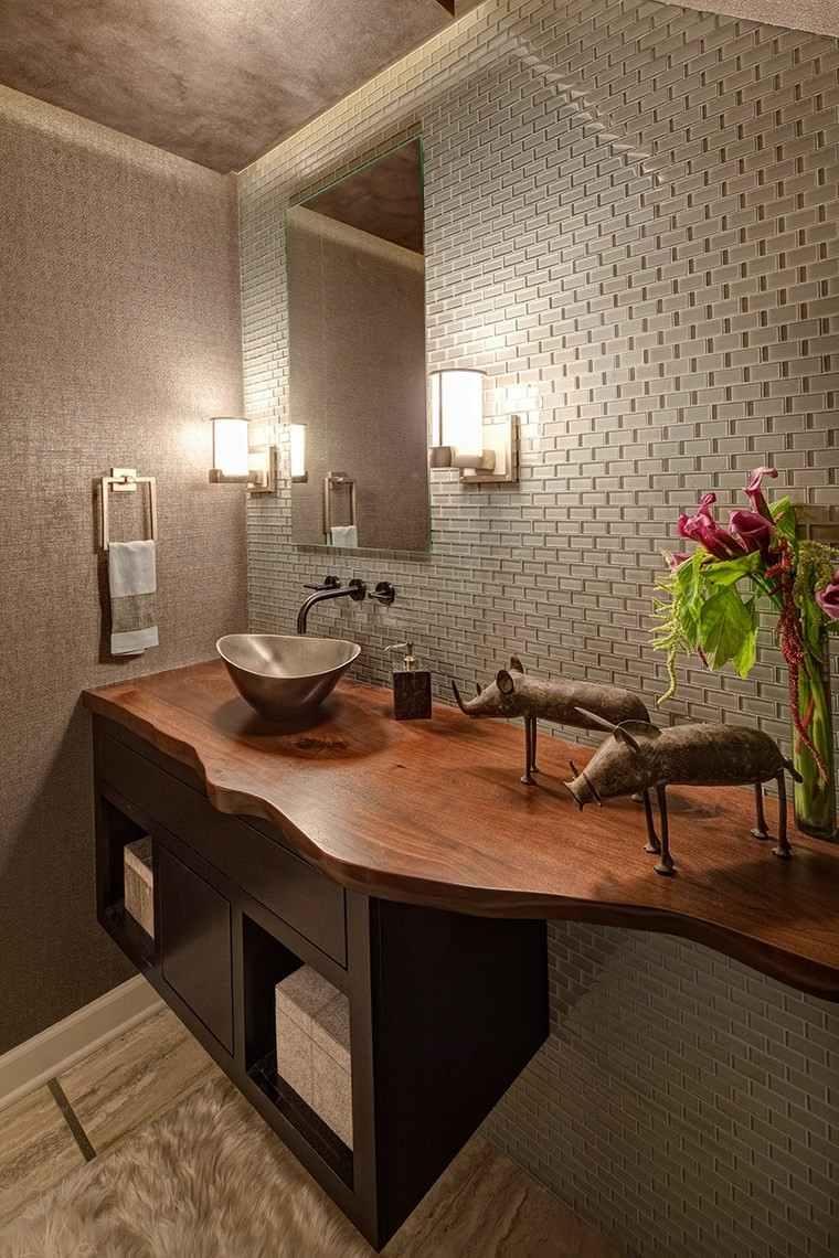 baños bonitos lavabos diseno encimera madera ideas