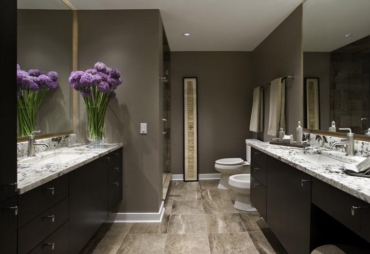 baños bonitos lavabos diseno flores frescas ideas