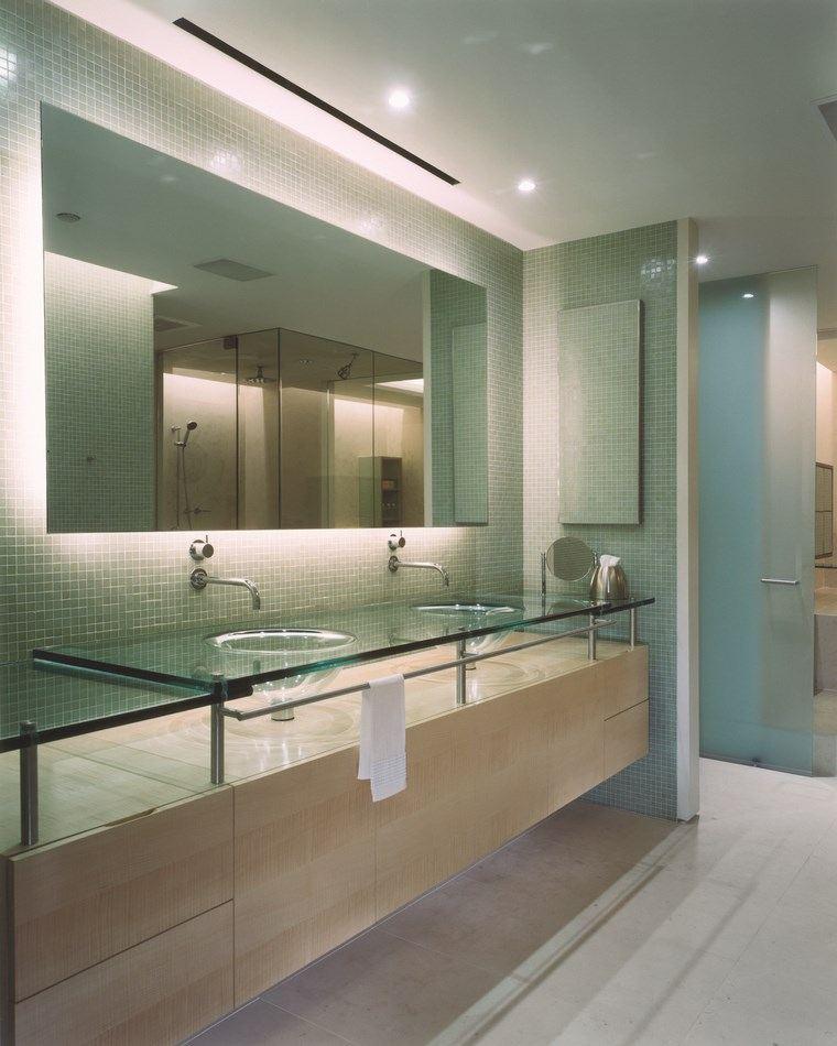 baños bonitos lavabos diseno iluminacion LED ideas