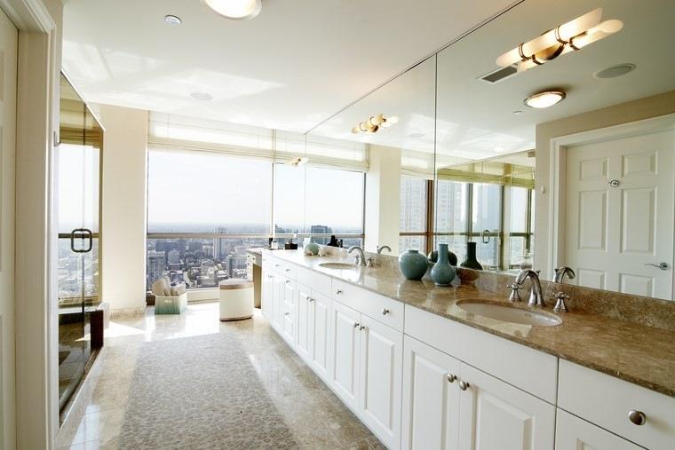 baños bonitos lavabos diseno largo estrecho ideas