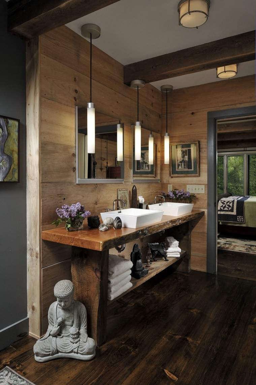 banos bonitos lavabos diseno madera natural ideas