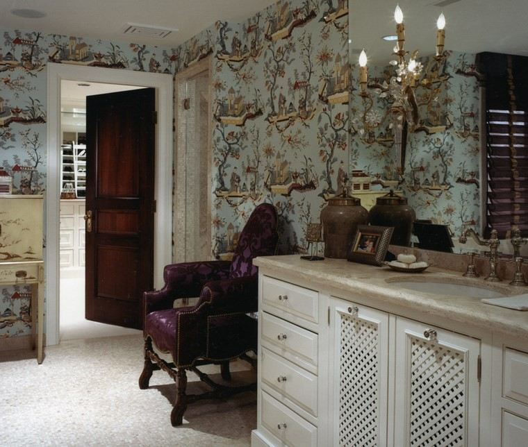 bonitos lavabos diseno papel pared estampas ideas
