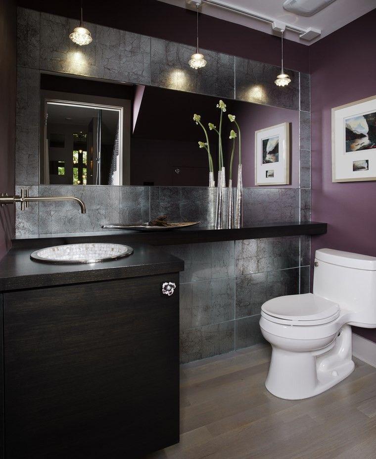 bonitos lavabos diseno pared purpura ideas