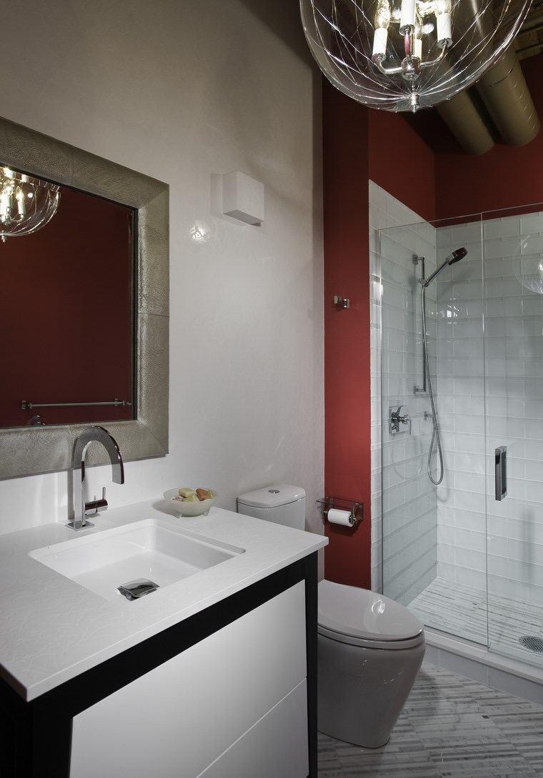bonitos lavabos diseno paredes rojo ideas
