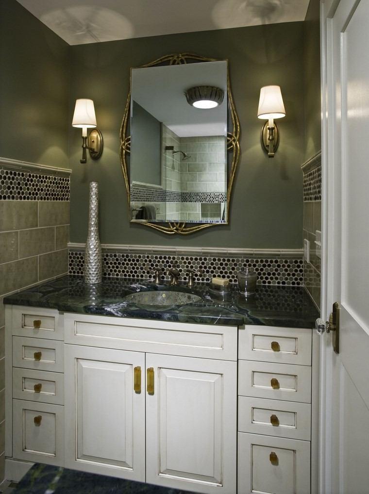 bonitos lavabos diseno paredes verdes granito ideas