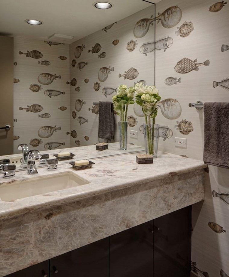 bonitos lavabos diseno peces pared ideas