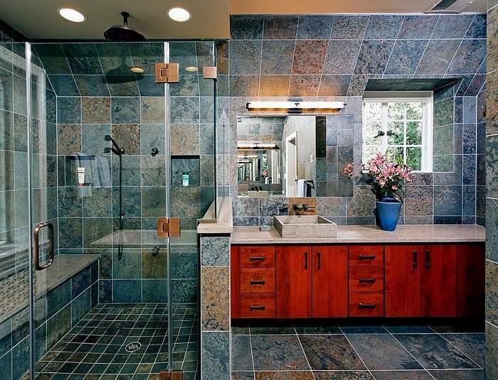 banos con ducha banera armario madera ideas