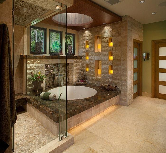banos con ducha banera bambu ideas