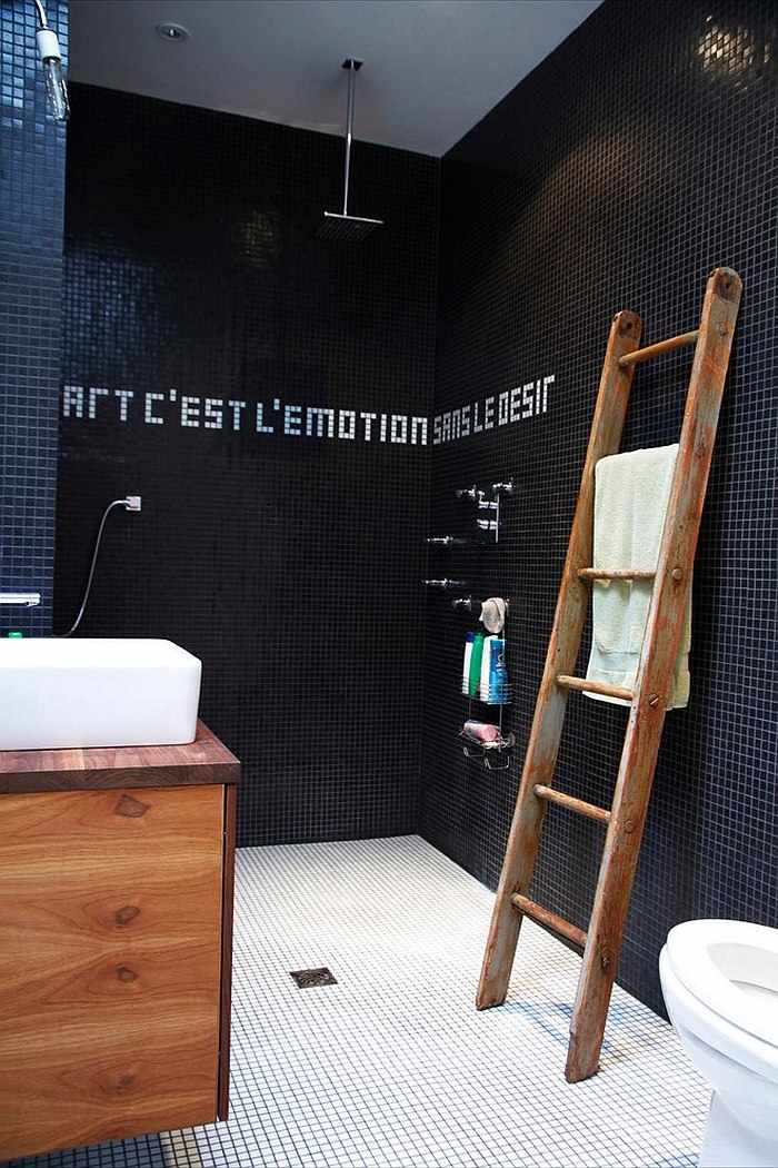 Baños Con Ducha Negra:Wooden Towel Ladders for Bathrooms