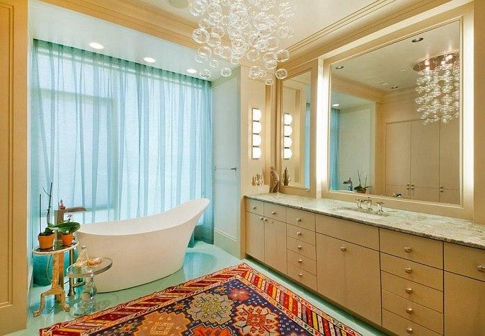 banos con ducha banera cortinas transparentes ideas