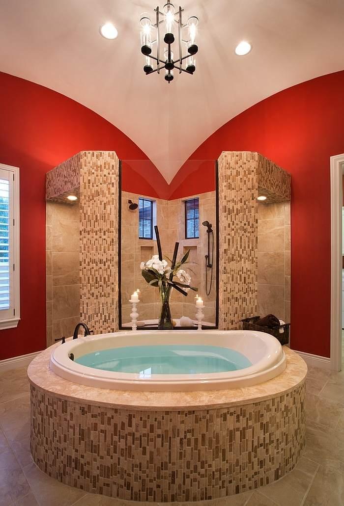 banos con ducha banera forma redonda ideas