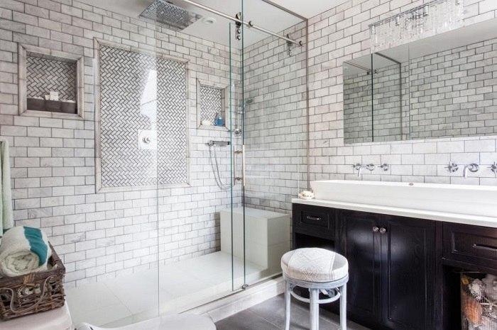 banos con ducha banera lavabo madera ideas