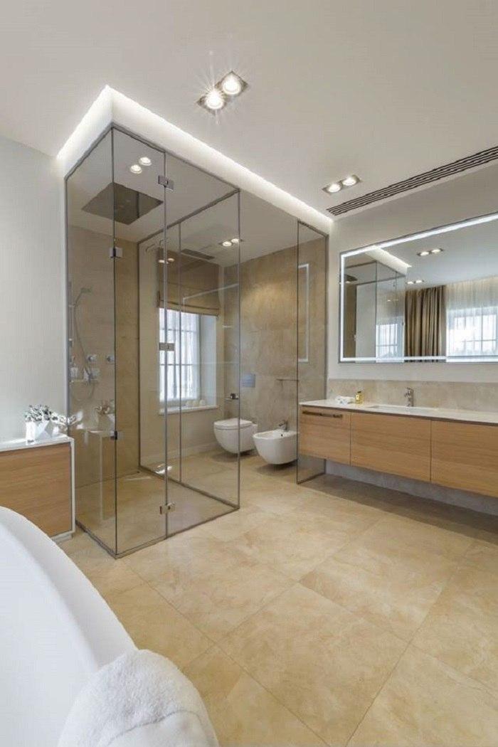 banos con ducha banera losas mampara cristal ideas
