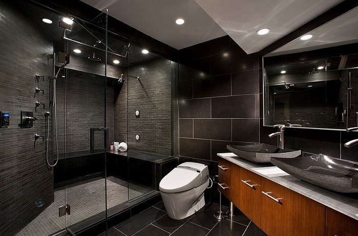 banos con ducha banera losas negras lavabo ideas