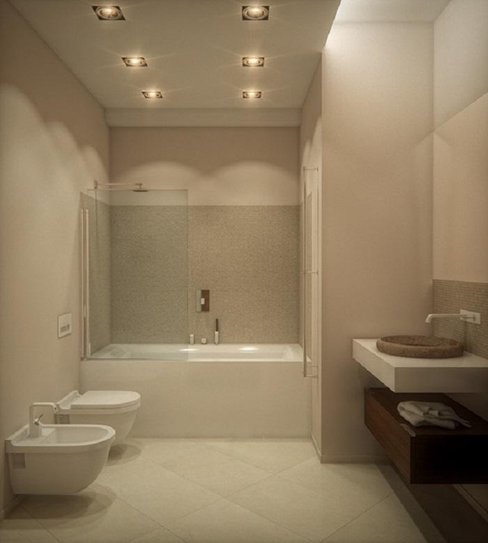 Ba o moderno con banera for Ideas para banos con ducha