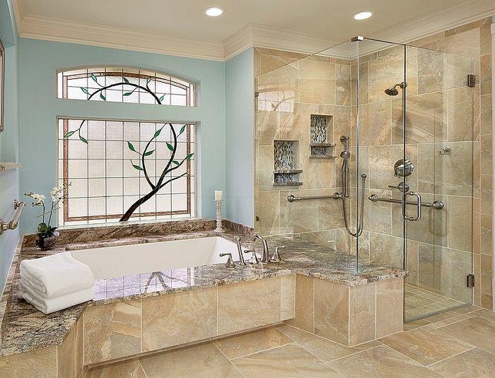 imagenes baños con ducha banera mampara ventana ideas
