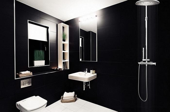 Baños Con Ducha Negra:imagenes baños con ducha banera minimalista negro ideas