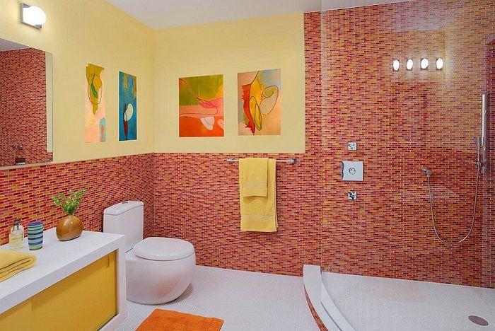 imagenes baños con ducha banera mosaico rojo ideas