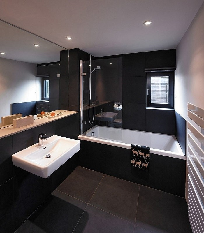 imagenes baños con ducha banera negro elegante ideas