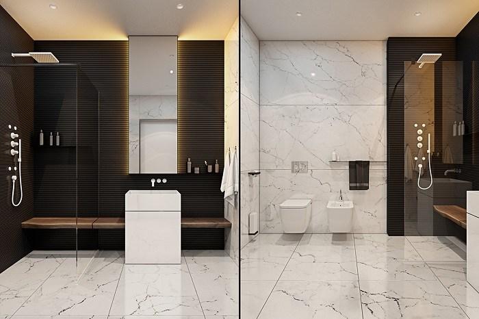 imagenes baños con ducha banera pared negra marmol ideas