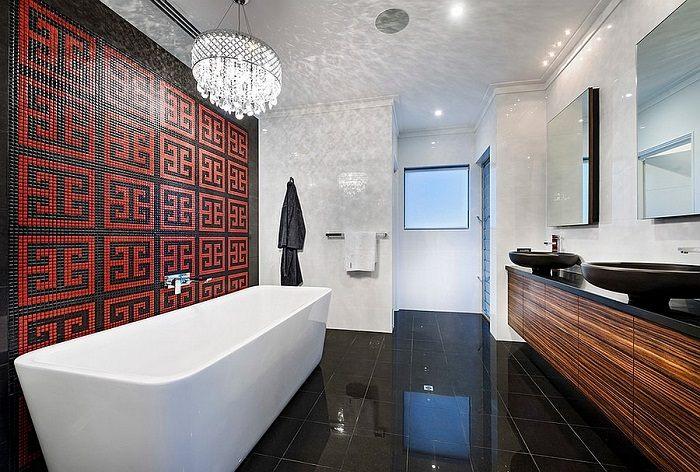 imagenes baños con ducha banera pared negro rojo ideas